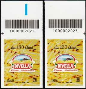 F.  DIVELLA  S.p.A. - 130° Anniversario della fondazione - coppia di francobolli con codice a barre n° 2025 in ALTO destra-sinistra