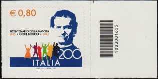 Bicentenario della nascita di San Giovanni Bosco - francobollo con codice a barre n° 1655 a DESTRA in alto