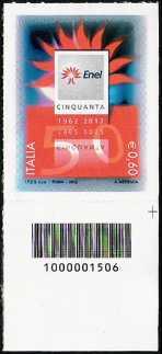 Italia 2012 - 50° Anniversario della fondazione dell'Ente Nazionale per l'Energia Elettrica ( ENEL ) - codice a barre n° 1506