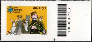 E.N.P.A.  Ente Nazionale Protezione Animali - 150° Anniversario dell'Istituzione - francobollo con codice a barre n° 2103 a DESTRA in basso