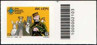 Ente Nazionale Protezione Animali - 150° Anniversario dell'Istituzione  - francobollo con codice a barre n° 2103 a DESTRA in alto
