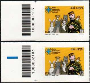 E.N.P.A.  Ente Nazionale Protezione Animali - 150° Anniversario dell'Istituzione - coppia di francobolli con codice a barre n° 2103 a SINISTRA alto-basso