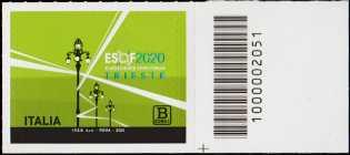 ESOF - EuroScience Open Forum - Trieste - francobollo con codice a barre n° 2051 a DESTRA in basso