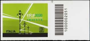 ESOF - EuroScience Open Forum - Trieste - francobollo con codice a barre n° 2051 a DESTRA in alto