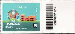 UEFA - EURO 2020  ITALIA - francobollo con codice a barre n° 2125 a DESTRA in basso