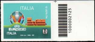 UEFA - EURO 2020  ITALIA - francobollo con codice a barre n° 2125 a DESTRA in alto