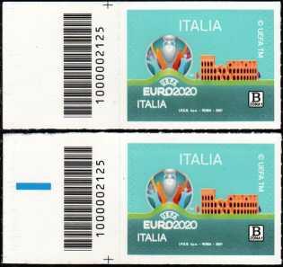 UEFA - EURO 2020  ITALIA - coppia di francobolli con codice a barre n° 2125 a SINISTRA alto-basso