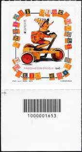 Europa - 60° serie - Giocattoli antichi : Pinocchio - francobollo con codice a barre n° 1653