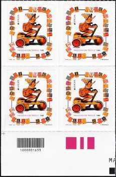Europa - 60° serie - Giocattoli antichi : Pinocchio - quartina con codice a barre n° 1653