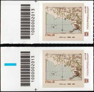 Europa - 65° serie   :  Antichi itinerari postali - coppia di francobolli con codice a barre n° 2013 a SINISTRA alto-basso