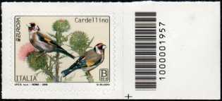 Europa - 64° serie :  Cardellino  -  francobollo con codice a barre n° 1957 a DESTRA in basso