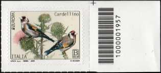 Europa - 64° serie :  Cardellino  -  francobollo con codice a barre n° 1957 a DESTRA in alto