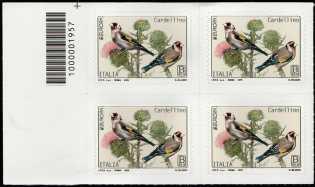 Europa - 64° serie :  Cardellino  -  quartina con codice a barre n° 1957
