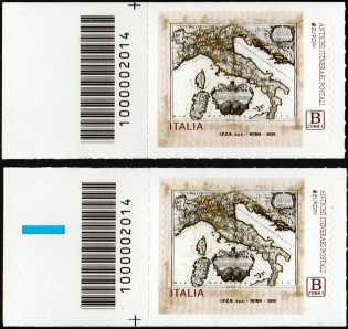 Europa - 65° serie   :  Antichi itinerari postali - coppia di francobolli con codice a barre n° 2014 a SINISTRA alto-basso