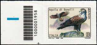 Europa - 64° serie :  Aquila di Bonelli -  francobollo con codice a barre n° 1958 a SINISTRA in basso