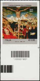 Chiesa Evangelica Luterana - Quinto Centenario della Riforma - francobollo con codice a barre n°1801 in BASSO a destra
