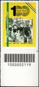 Centenario del settore Atletica Leggera delle Fiamme Gialle della Guardia di Finanza - francobollo con codice a barre n° 2119 in BASSO a destra