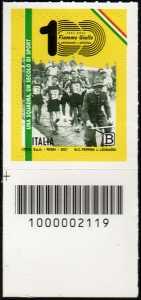 Centenario del settore Atletica Leggera delle Fiamme Gialle della Guardia di Finanza - francobollo con codice a barre n° 2119 in BASSO a sinistra