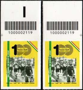 Centenario del settore Atletica Leggera delle Fiamme Gialle della Guardia di Finanza - coppia di francobolli con codice a barre n° 2119 in ALTO destra-sinistra