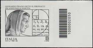 """Leonardo Pisano detto """"Il Fibonacci"""" - 850° Anniversario della nascita - francobollo con codice a barre n° 2050 a DESTRA in basso"""