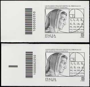 """Leonardo Pisano detto """"Il Fibonacci"""" - 850° Anniversario della nascita - coppia di francobolli con codice a barre n° 2050 a SINISTRA alto-basso"""