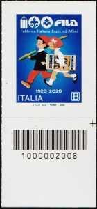 F.I.L.A. - Fabbrica Italiana Lapis ed Affini - Centenario della fondazione - francobollo con codice a barre n° 2008 in BASSO a destra