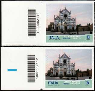 L' Italia riparte  : Firenze - coppia di francobolli con codice a barre n° 2112 a SINISTRA alto basso