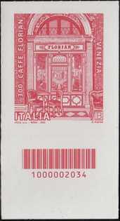 Eccellenze del sistema produttivo ed economico  - Caffé Florian - 300° Anniversario di attività - francobollo con codice a barre n° 2034 in BASSO a sinistra