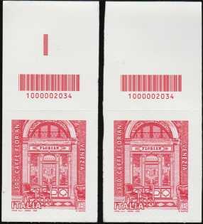 Eccellenze del sistema produttivo ed economico  - Caffé Florian - 300° Anniversario di attività - coppia di francobolli con codice a barre n° 2034 in ALTO destra-sinistra