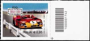 """Centesima edizione della """" Targa Florio """" - francobollo con codice a barre n° 1742"""