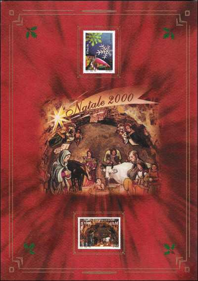 Natale 2000 - Scorcio del globo terrestre con paesaggio fiabesco e particolare del Presepe della Cattedrale di Matera