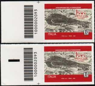 Venezia - 1600° anniversario della fondazione - coppia di francobolli con codice a barre n° 2093 a SINISTRA alto-basso