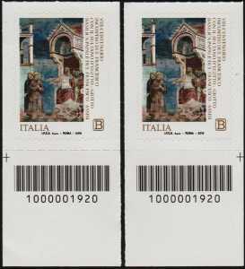 VIII Centenario dell'incontro di San Francesco con il sultano d'Egitto - coppia di francobolli con codici a barra n° 1920 in BASSO destra-sinistra