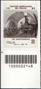 Traforo ferroviario del Frejus - 150° Anniversario dell'inaugurazione - francobollo con codice a barre n° 2148 in BASSO a sinistra