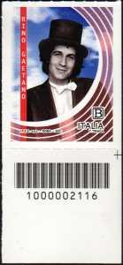 Rino Gaetano : 40° anniversario della scomparsa  - francobollo con codice a barre n° 2116 in BASSO a destra