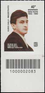 40° Anniversario della morte del magistrato  Guido Galli - francobollo con codice a barre n° 2083 in BASSO a destra
