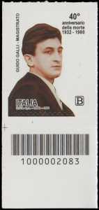 40° Anniversario della morte del magistrato  Guido Galli - francobollo con codice a barre n° 2083 in BASSO a sinistra