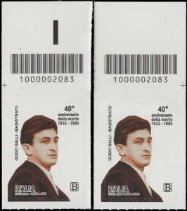 40° Anniversario della morte del magistrato  Guido Galli - coppia di francobolli con codice a barre n° 2083 in ALTO sinistra-destra