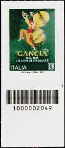 F.lli Gancia - 170° anno di attività - francobollo con codice a barre n° 2049 in BASSO a destra