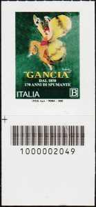 F.lli Gancia - 170° anno di attività - francobollo con codice a barre n° 2049 in BASSO a sinistra