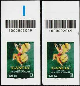 F.lli Gancia - 170° anno di attività - coppia di francobolli con codice a barre n° 2049 in ALTO destra-sinistra