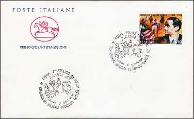 1998 - Federico Garcia Lorca  - FDC  CAVALLINO - Annullo ufficiale Roma Filatelico