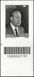 Remo Gaspari - Centenario della nascita - francobollo con codice a barre n° 2135  in BASSO a sinistra