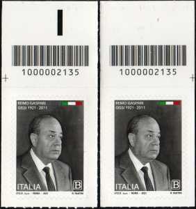 Remo Gaspari - Centenario della nascita - coppia di francobolli con codice a barre n° 2135  in ALTO destra-sinistra