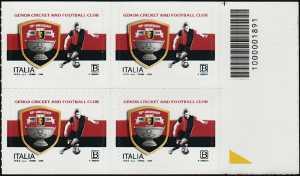 Genoa Cricket and Football Club - 125° Anniversario della fondazione - quartina con codice a barre n° 1891
