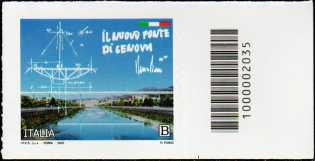 Il Senso Civico - Il nuovo ponte di Genova - francobollo con codice a barre n° 2035 a DESTRA in basso