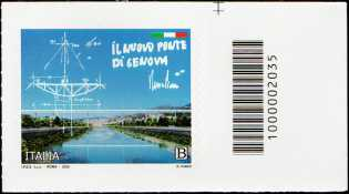 Il Senso Civico - Il nuovo ponte di Genova - francobollo con codice a barre n° 2035 a DESTRA in alto