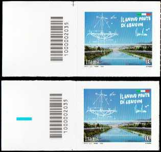 Il Senso Civico - Il nuovo ponte di Genova - coppia di francobolli con codice a barre n° 2035 a SINISTRA alto-basso