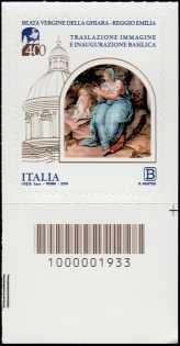 Immagine della Beata Vergine della Ghiara - IV Centenario della traslazione e dell'inaugurazione della Basilica -francobollo con codice a barre n° 1933 in BASSO a destra