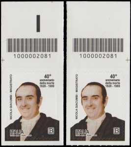 40° Anniversario della morte del magistrato  Nicola Giacumbi - coppia di francobolli con codice a barre n° 2081 in ALTO sinistra-destra